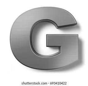3d render. Metal alphabet symbol F.