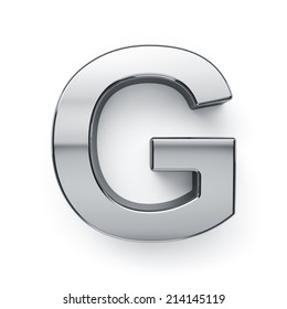 3d render of metallic alphabet letter symbol - G. Isolated on white background