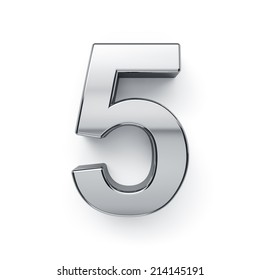3d render of metallic digit five symbol - 5. Isolated on white background