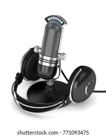 3d render of microphone with headphones and webinar text over white background