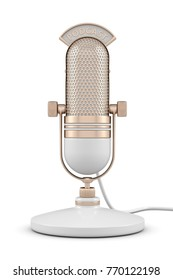 3d render of microphone with podcast text over white background