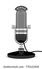 3d render of microphone with webinar text over white background