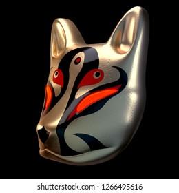 3d render model traditional Japan devil mask Gold Kitsune