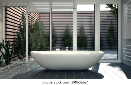 3D render of a Modern Bathroom With Dark Tiles and outdoor view
