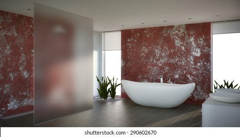 3D render of a Modern Bathroom With Dark Tiles and Red Wall