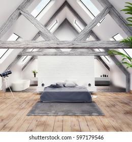 3D render of a modern bedroom with bathroom