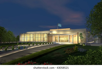 3D render of a modern building