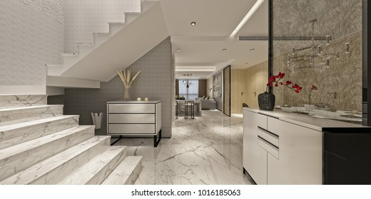 3d render of modern home interior
