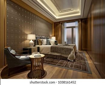3d render of modern hotel room