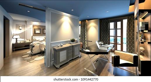 3d render of modern house interior