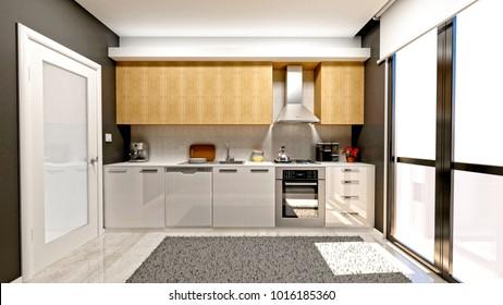 3d render of modern kitchen