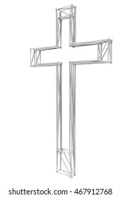 3d render - Modern  lattice cross icon high resolution isolated on white  background
