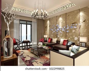 3d render of modern living room