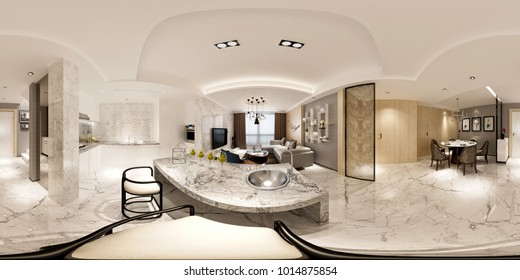 3d render of modern luxury house 360 degrees view