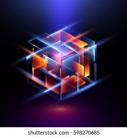 3d render. Modern technology. Box scheme. Neural network. Glass blocks. Web construction. Industrial cube objects. Hardware quantum form. Smart build. Intersect composition. Grid core. Glow tech