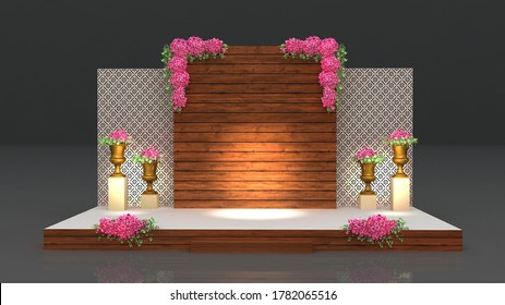3d render Modern wedding stage, wooden backdrop and golden flower vase - Shutterstock ID 1782065516