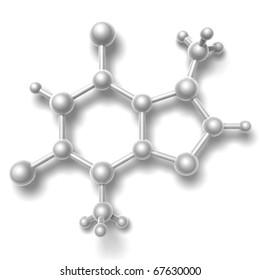 3D render of molecule - Theobromine - sweet cacao alkaloid