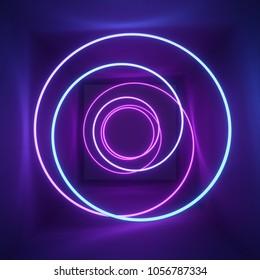 3d render, neon light, tunnel, laser show, illumination, glowing wavy lines, abstract fluorescent background, optical illusion, room, corridor, night club interior