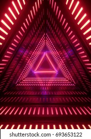 3d render, neon lights, triangle tunnel, abstract geometric background
