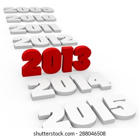3d render New Year 2013 and next and past years on a white background.