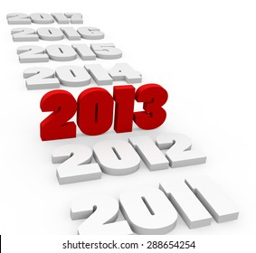 3d render New Year 2013 and past and next years on a white background.
