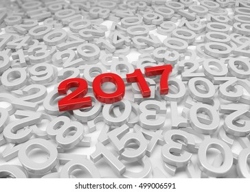 3d render - New Year 2017 in red and past years on a white background.