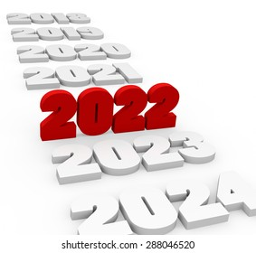 3d render New Year 2022 and next and past years on a white background.