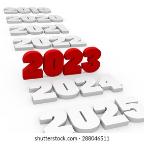 3d render New Year 2023 and next and past years on a white background.