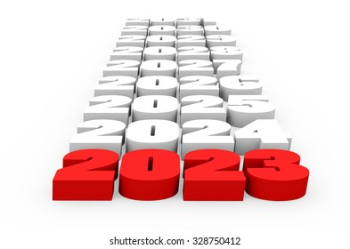 3d render New Year 2023 and next years on a white background.