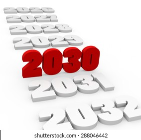 3d render New Year 2030 and next and past years on a white background.
