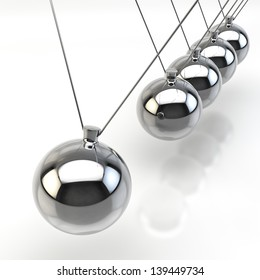 3D Render of a Newton Pendulum on white background