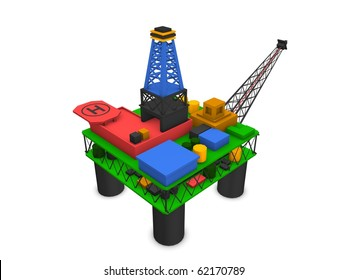 3d render offshore oil rig drilling platform isolated over white background