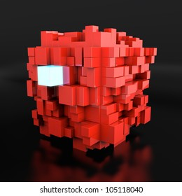 3d render on neon cube among red cubes