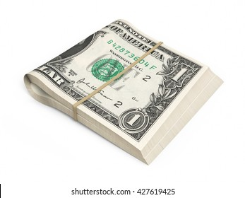 3D render One dollar banknotes stacks (isolated and clipping path)