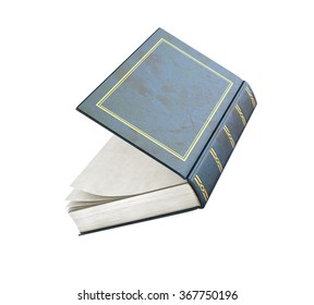 3d render of one open book on a white background.