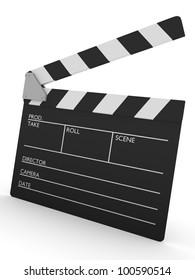 3d render of an open cinema slate.