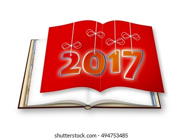 3D render of an opened photo book with Happy 2017 concept image with hanging numbers on red cardboard