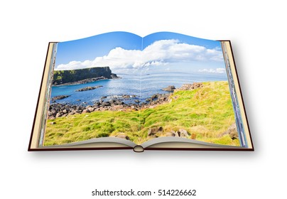 3D render of an opened photo book with Irish landscape (Northern Ireland - United Kingdom)