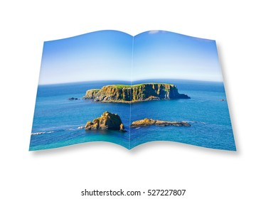 3D render of an opened photo book with a small rocky island in the middle of the northern Ireland sea