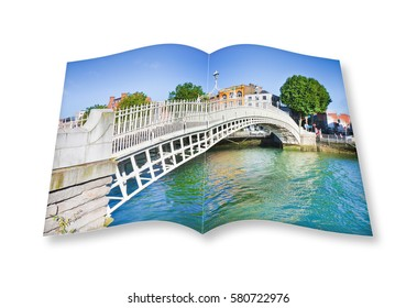 "3D render opened photo book of the most famous bridge in Dublin called ""Half penny bridge"" due to the toll charged for the passage"