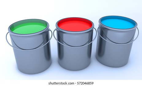 3d render. Paint cans and colors