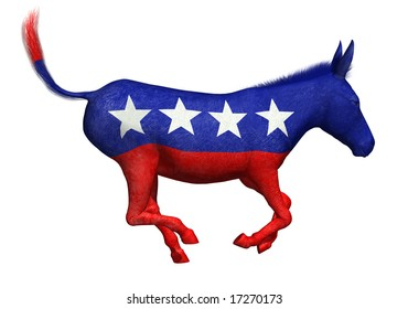 3D Render of a painted donkey galloping. The donkey is the symbol of the democratic party in the US.