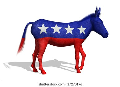 3D render of a painted donkey - the symbol for the democratic party in the US.