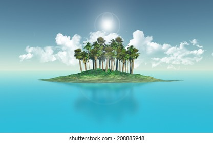 3D render of a palm tree island against a blue sky
