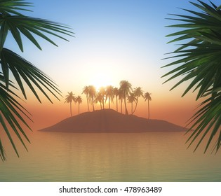 3D render of a palm tree island against a sunset sky