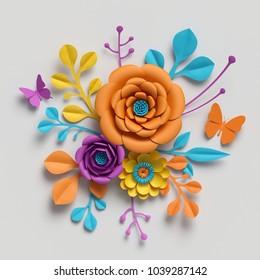 3d render, paper flowers bouquet, vivid color palette, botanical background, isolated clip art, round bouquet, floral arrangement