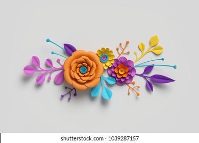 3d render, paper flowers, bright color palette, botanical background, isolated clip art, bouquet, floral border
