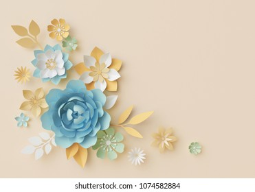 3d render, pastel paper flowers, botanical design, corner element, beautiful bouquet, floral arrangement, isolated clip art, nursery wall decor, baby blue, rose, peony, daisy, leaves