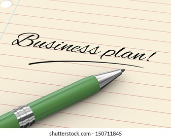 3d render of pen on paper written business plan