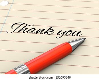 3d render of pen on paper written thank you